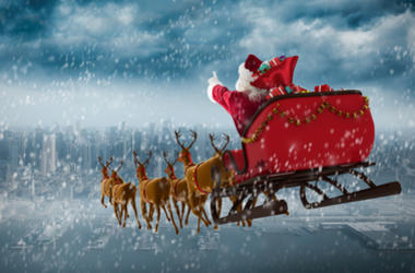 Santa Claus drives his sleigh
