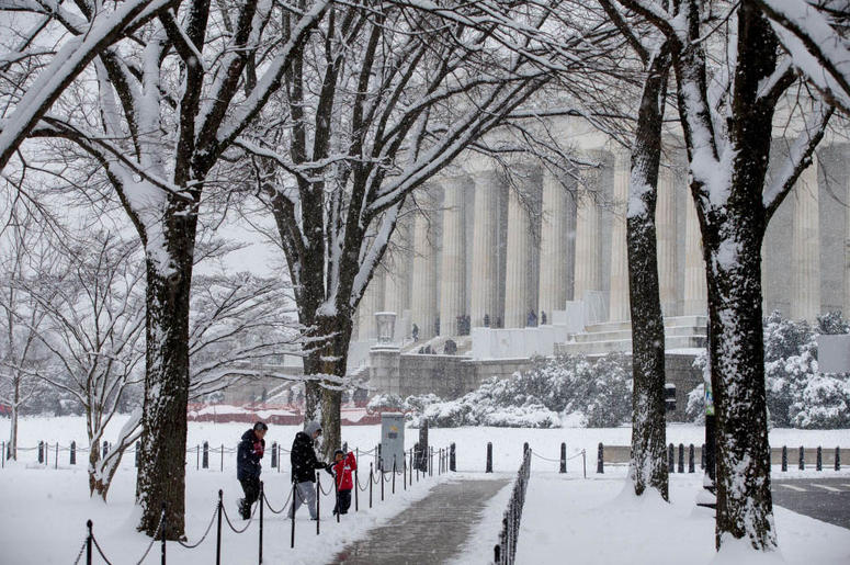 WASHINGTON, DC - JANUARY 13: People visit the Lincoln Memorial on January 13, 2019 in Washington, DC. The DC area was hit with 4-7 inches of snow accumulation with the potential of another 2-4 inches.