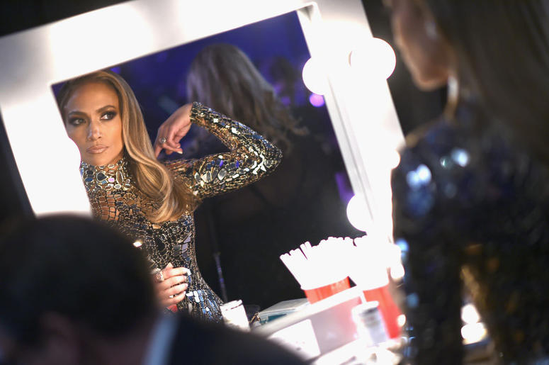 Jennifer Lopez prepares backstage during the 91st Annual Academy Awards at the Dolby Theatre on February 24, 2019 in Hollywood, California.