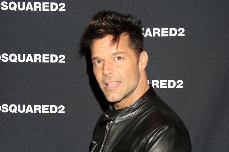 Ricky Martin in a leather jacket