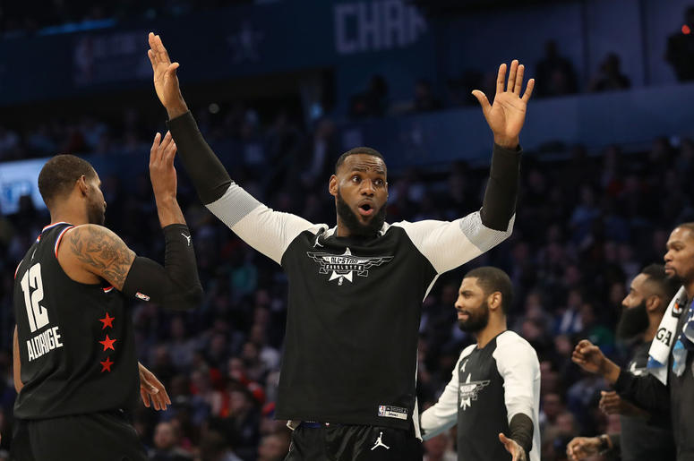 LeBron James #23 of the LA Lakers and Team LeBron reacts as they take on Team Giannis in the fourth quarter during the NBA All-Star game as part of the 2019 NBA All-Star Weekend at Spectrum Center on February 17, 2019 in Charlotte, North Carolina