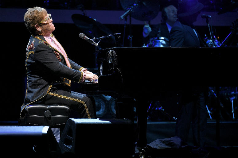 Elton John performs during his 'Farewell Yellow Brick Road' tour at Madison Square Garden on October 18, 2018 i
