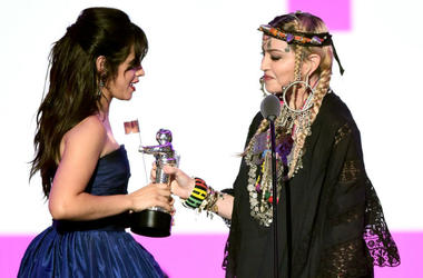 Madonna (R) presents the award for Video of the Year to Camila Cabello (L) onstage during the 2018 MTV Video Music Awards at Radio City Music Hall on August 20, 2018 in New York City.