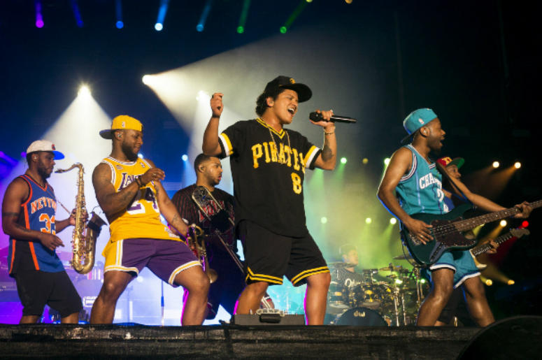 Caption: NAPA, CA - MAY 27: Bruno Mars performs during the 2018 BottleRock Napa Valley at Napa Valley Expo on May 27, 2018 in Napa, California.