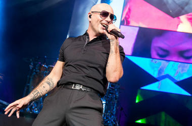 Rapper Pitbull (Armando Perez) at Henry Maier Festival Park during Summerfest on June 30, 2016, in Milwaukee, Wisconsin.