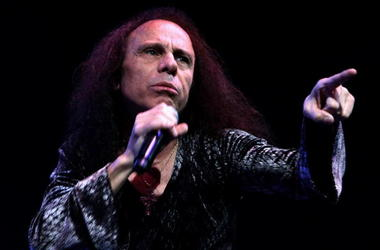 Ronnie James Dio performs on stage with Heaven and Hell