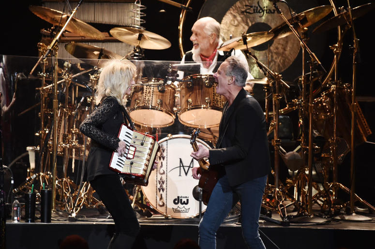 NEW YORK, NY - JANUARY 26: (L-R) Honorees Christine McVie, Lindsey Buckingham, and Mick Fleetwood of music group Fleetwood Mac perform onstage during MusiCares Person of the Year honoring Fleetwood Mac at Radio City Music Hall on January 26, 2018 in New Y
