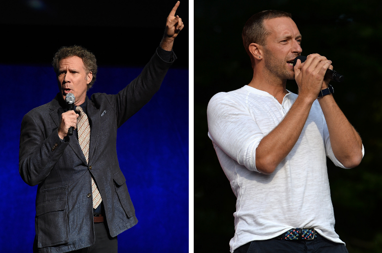 Will Ferrell at the Sony Pictures Entertainment presentation at CinemaCon 2018 at Caesars Palace on April 23, 2018 in Las Vegas, Nevada / Chris Martin, lead singer for Coldplay, speaks at the 2018 Global Citizen Festival on the Great Lawn in Central Park,