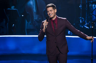 Michael Buble who thanked fans for their love and support as he made an emotional return to the stage after putting his career on hold when his son was diagnosed with cancer.