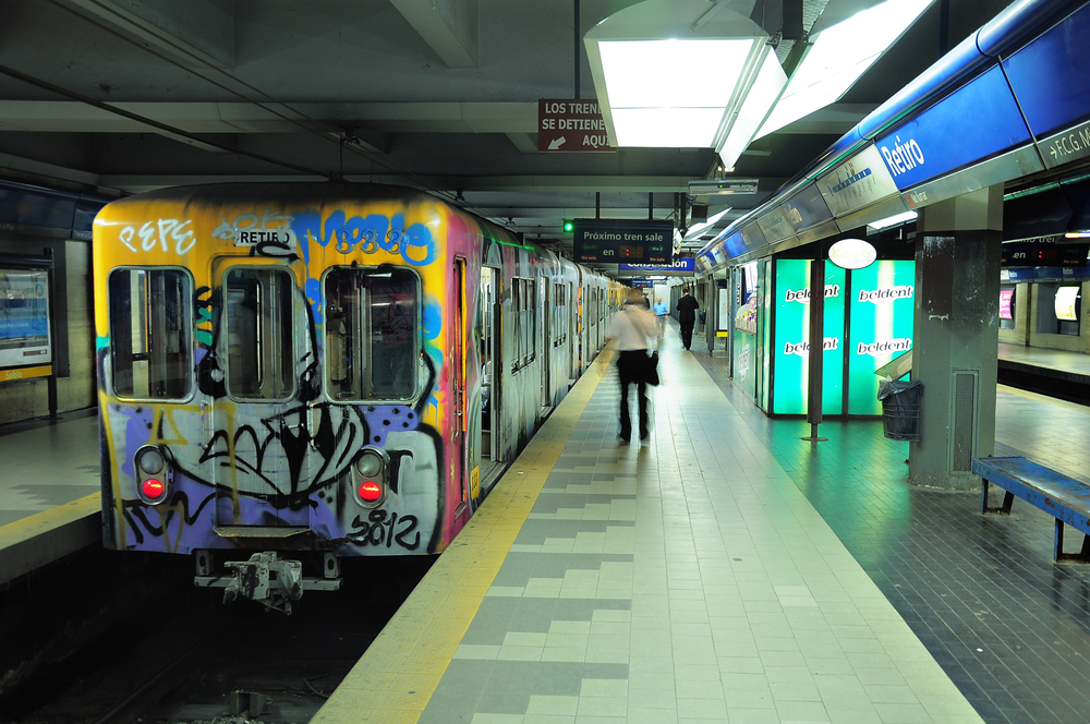 Metro train stands by the platform on Retiro station_191240843