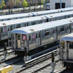 NYC subway cars in a depot_139461260