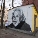 Black and white portrait of Albert Einstein_357202925