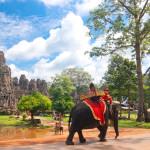 Visitor at the bayon in Angkor_137805263