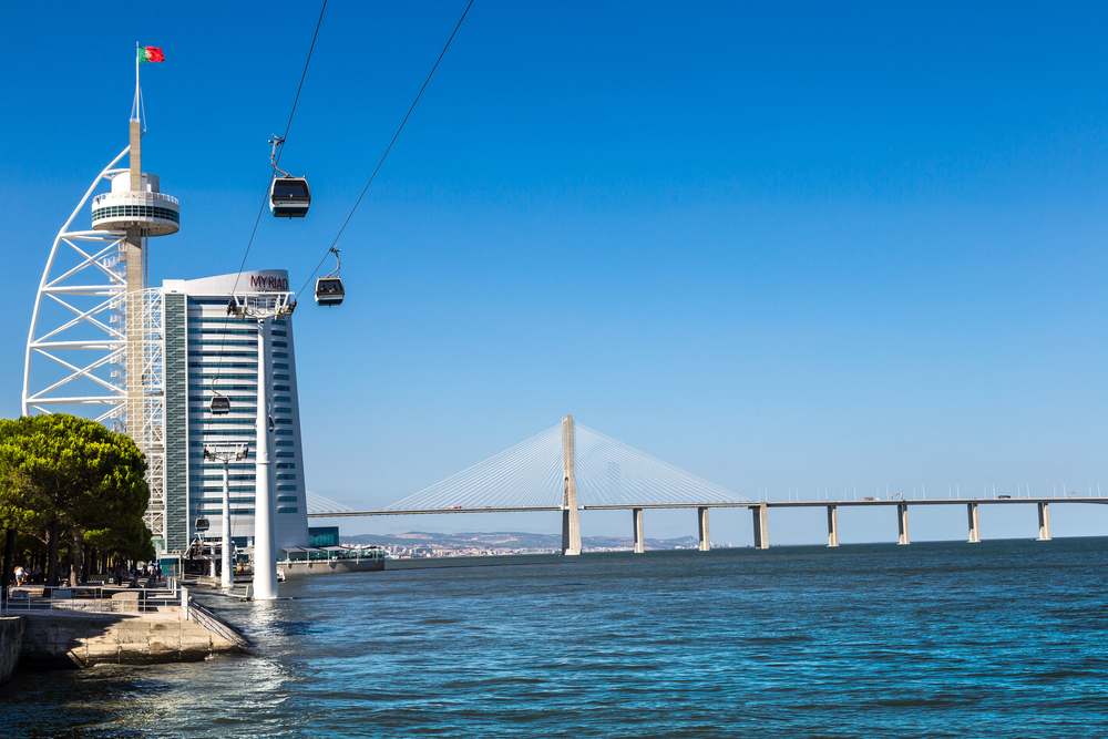 Vasco da Gama Bridge and Myriad Hotel_304802627