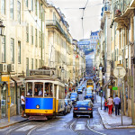 Famous tram 28 line in the very center of Lisbon_238743136