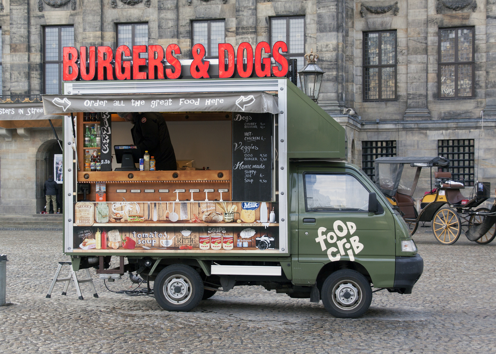 Food truck on Dam square_355458368