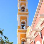 Bell tower of old Spanish church near Playa del Carmen_221738887