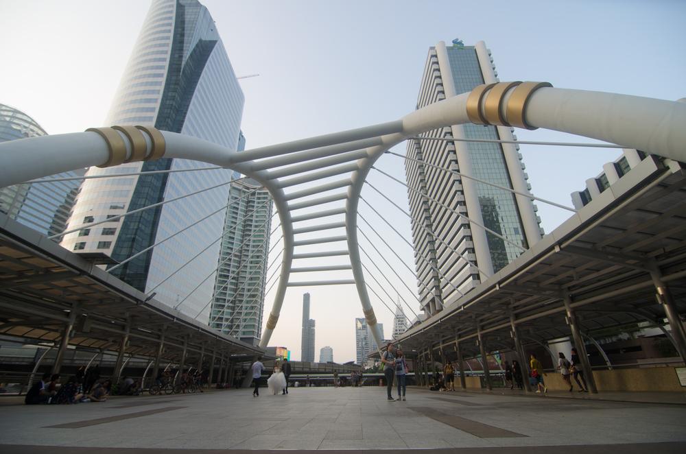 Public sky-walk at sky-train station Chong Nonsi_347698616