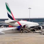 Emirates airplane at the Indira Gandhi International Airport_381933565