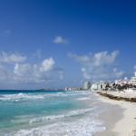 Crowded hotel zone along Caribbean sea coast_284077214
