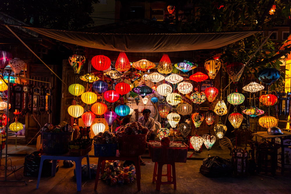 Handcrafted lamps in night market, Hoian_336847685