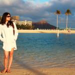 A beautiful young woman on Waikiki Beach_55371664