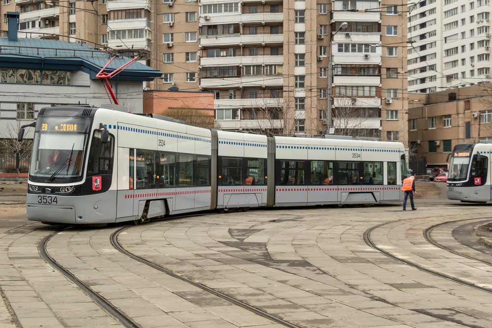Modern and comfortable tram on the streets of Moscow_400064749