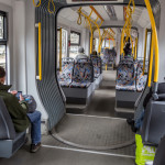 Modern and comfortable tram on the streets of Moscow_399822448