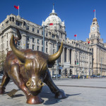 Iron bull statue out front of Chinese banks on the Bund_215144551