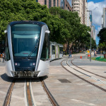 New Rio de Janeiro tram in test in Maua square (praca Maua)_394296892