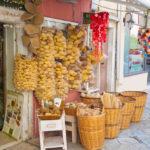 Traditional Greek goods displayed for sale on Corfu island_222111832