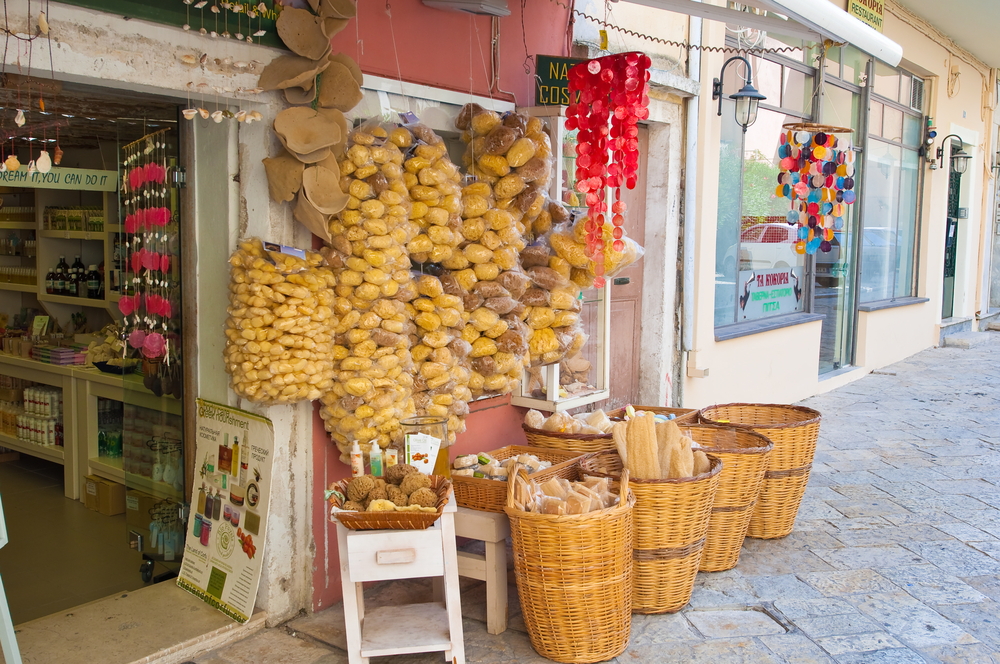Traditional Greek goods displayed for sale on Corfu island_222111832