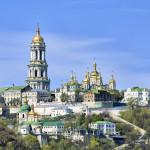 Kiev Pechersk Lavra Orthodox Monastery from Dnieper river_89565133
