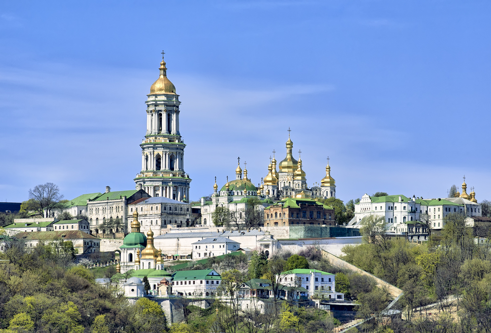 Kiev Pechersk Lavra Orthodox Monastery from Dnieper river_89565133