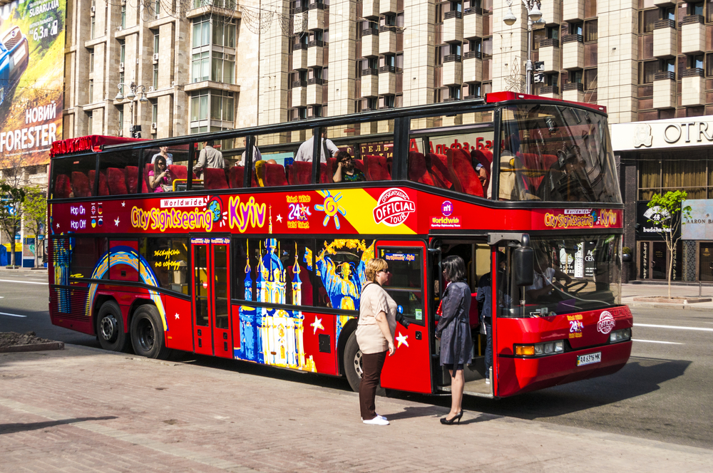 Sightseeing bus in the center of Kiev_372002767