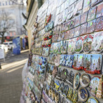 Souvenirs in tourist market on Andrew Descent in Kiev_383582434