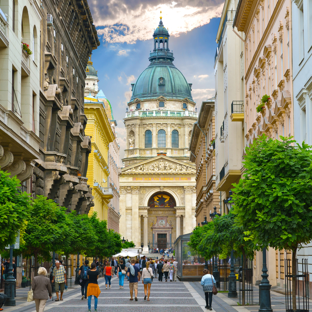 Zrinyi Utca street and Saint Stephen Basilica_376226131