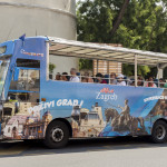 Hop on, hop off bus in city of Zagreb_317758574
