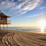 Lifeguard patrol tower on the beach at sunrise_110509046