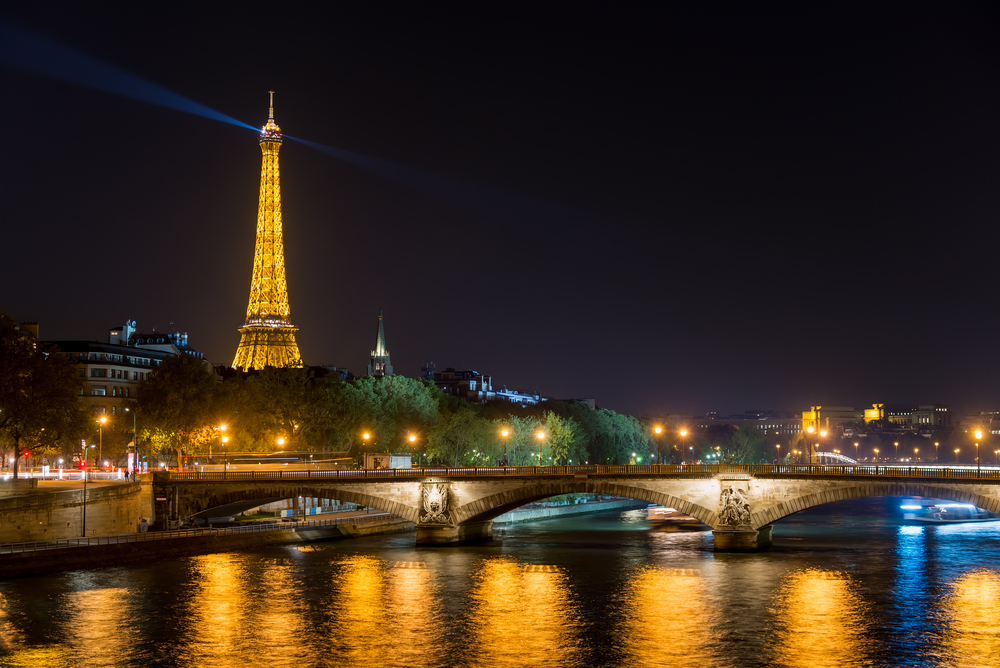 Eiffel Tower and Seine river at night_228621367