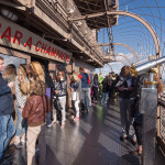 Tourists at the top of Eiffel Tower at Bar Champagne_257998199