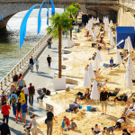 public beach on the banks of the River Seine in Paris_245349922