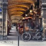 urban street view in Paris. Bistro cafe parisian_256364470