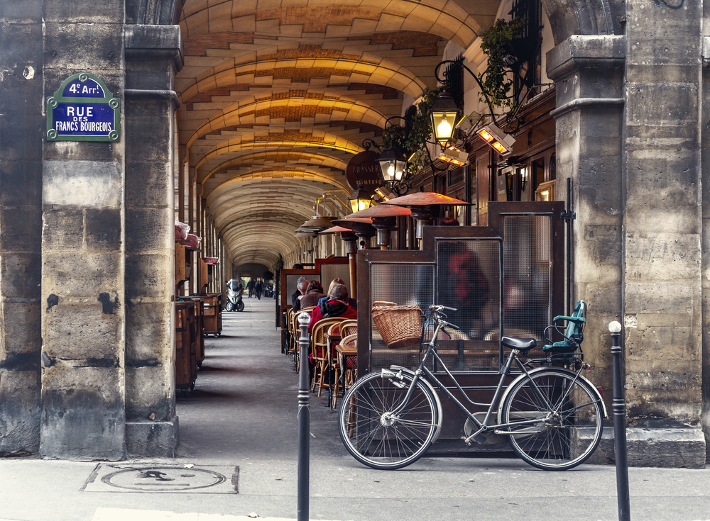 urban street view in Paris. Bistro cafe parisian_256364470