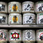 Japanese wine (sake) barrels at a shrine_402474331