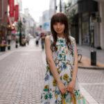 Japanese girl standing in shopping street in Yokohama_287033333