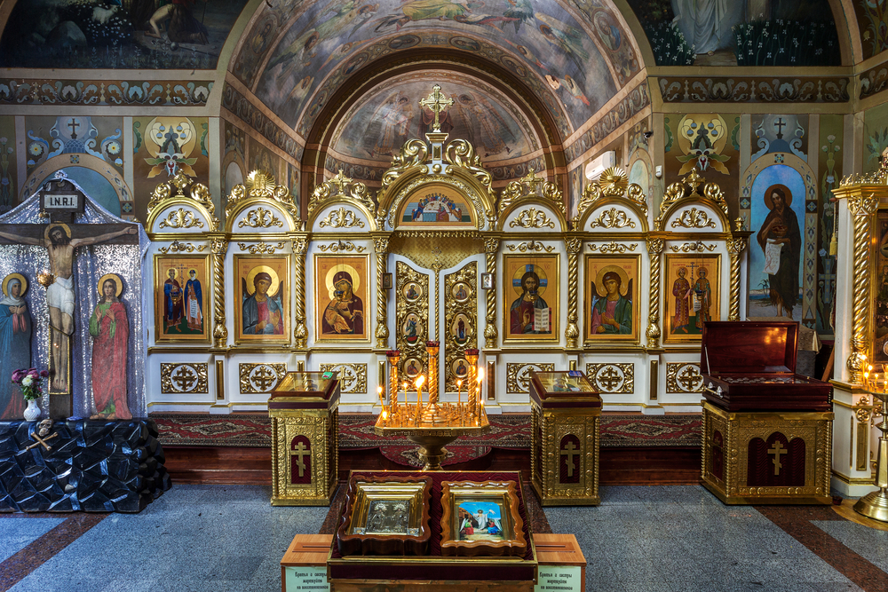 Interior of the Orthodox Church, altar, iconostasis_350726864