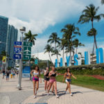 Ultra Music Festival in front of Bayside sign_404436847