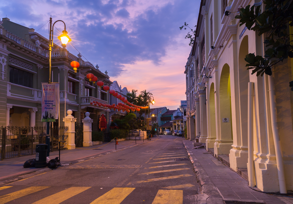 Dusk view of on Armenian Street and Yap Kongsi clan house_415922998
