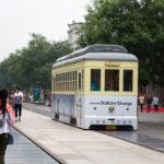 Tram in the Qianmen shopping Pedestrian_347958284